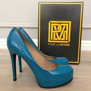 Pour La Victoire Irina Pumps in Teal Patent Sz8.5